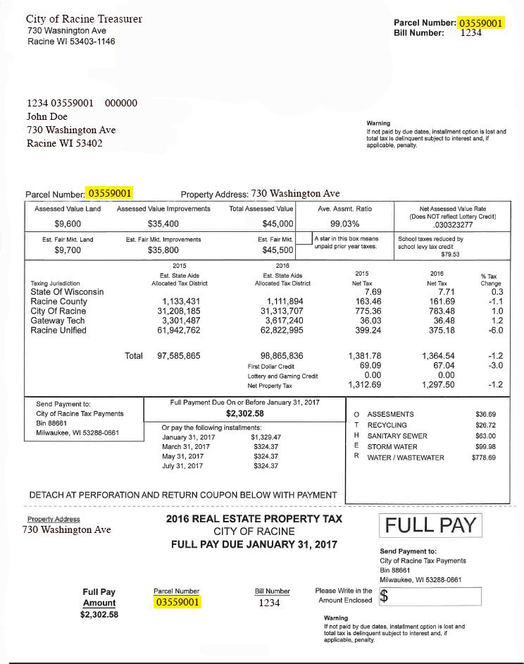 Property Tax Bill | City of Racine |