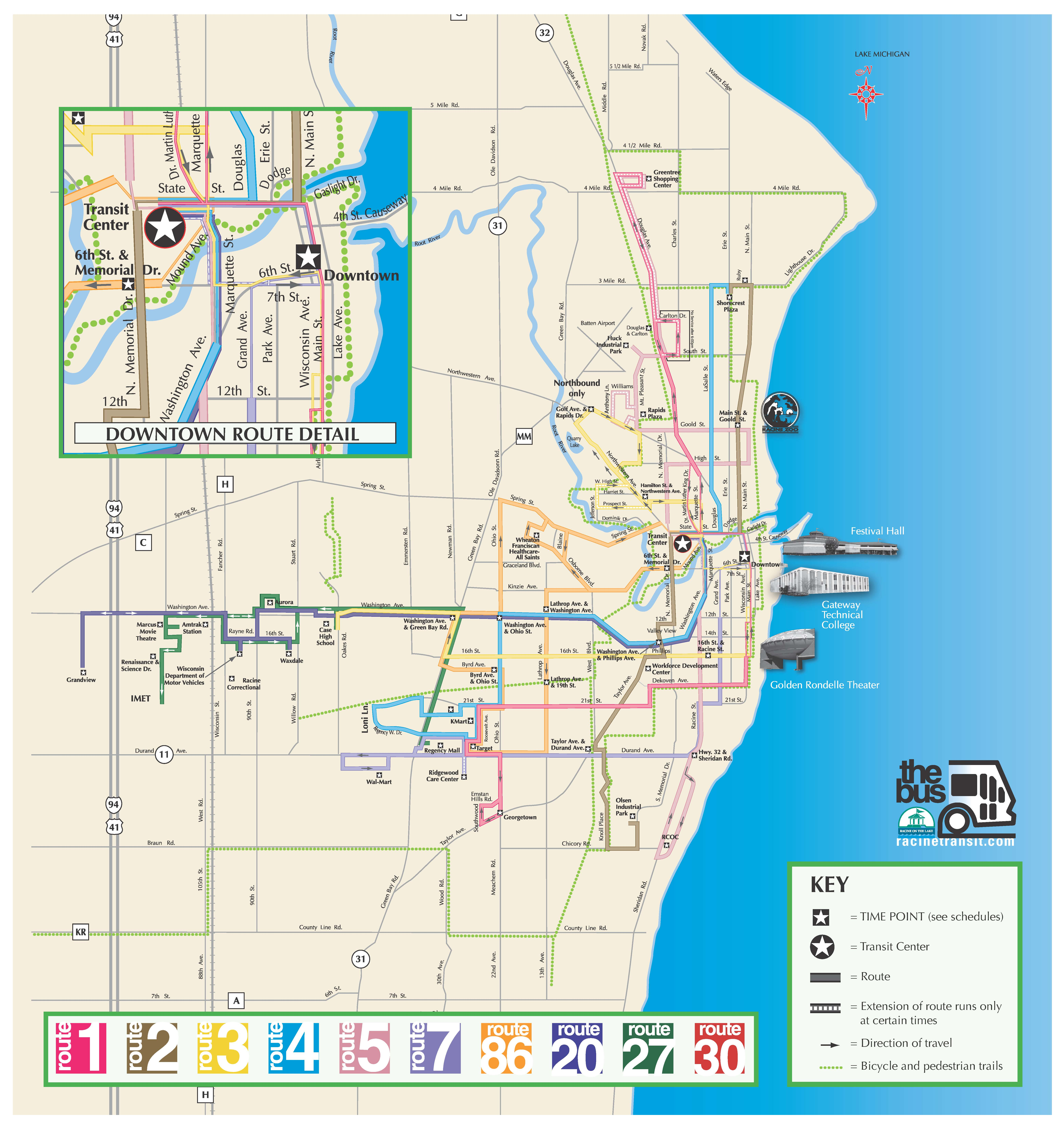 Racine Transit Routes City of Racine